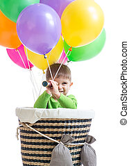 child boy on hot air balloon isolated - child boy looking...