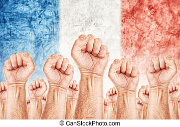 France Labour movement, workers union strike concept with...