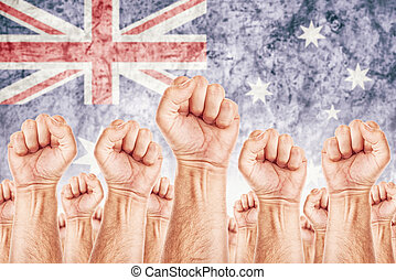 Australia Labour movement, workers union strike concept with...