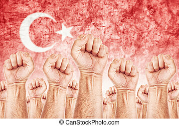 Turkey Labour movement, workers union strike concept with...