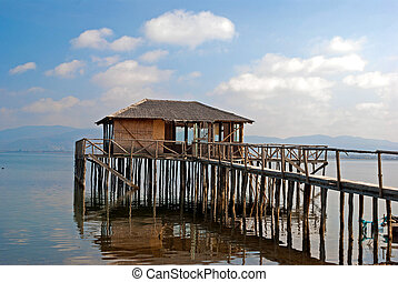 A typical lagoon house of the doiranii area Greece; it is...
