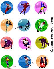 Inverno, desporto, silueta, ícones, vetorial,...