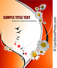 Orange yellow  floral background. Vector illustration