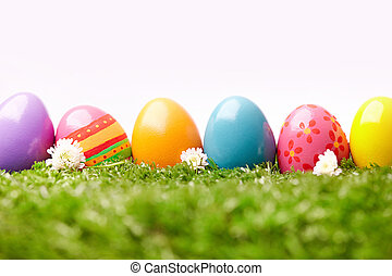 Colored eggs - Row of colored Easter eggs