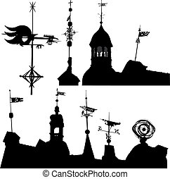 Weather vanes - Set of vector silhouettes of weather vanes...