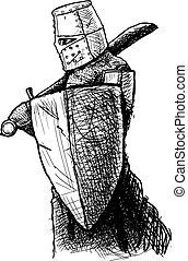 Templar with sword and shield - Black and white drawing of a...