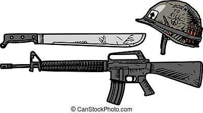 US weapons during the Vietnam War - Vector drawing of US...