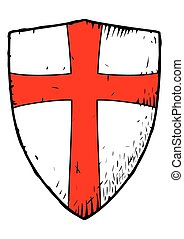 Templar shield with a red cross - Picture of the medieval...