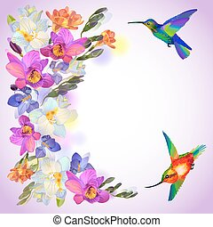 Lilac card with freesia flowers and humming birds - Vector...