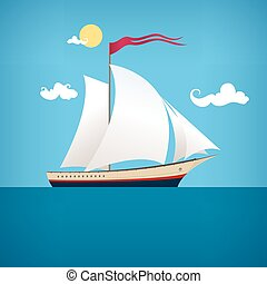Sailing vessel in the  blue ocean, vector illustration