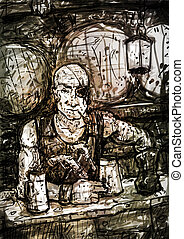 Drawing of One-eyed Bald Pirate-innkeeper - One-eyed bald...