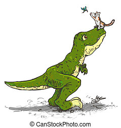 Tyrannosaurus and a cat catch the butterfly - Drawing of a...