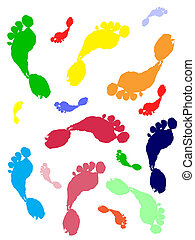 colorful foot steps