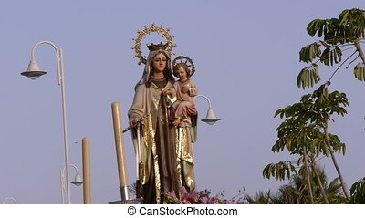 procession of the Virgen del Carmen in the town of Almunecar...