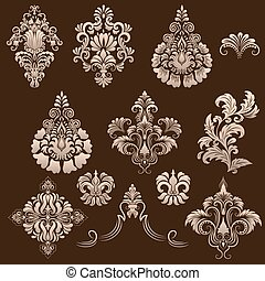 vector,  ornamental, Conjunto, elementos, damasco