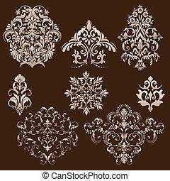 Vector set of damask ornamental elements.
