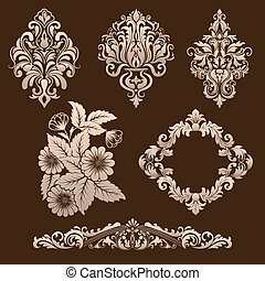 Vector set of damask ornamental elements Elegant floral...