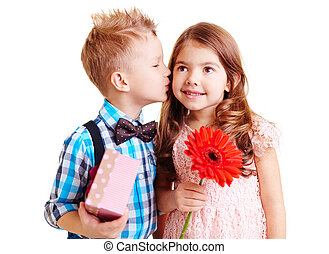 Nice kiss - Little boy kissing hi girlfriend