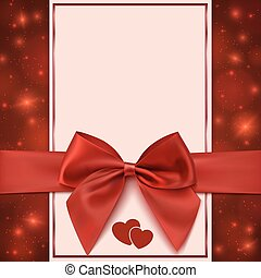 Greeting card template with red bow, ribbon and two hearts....