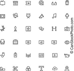 Video icon set - Set of the simple video and cinema related...
