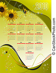 2010 calendar  vector illustration with American holiday