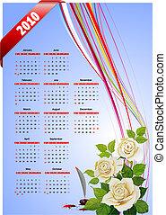 2010 calendar . Vector illustration