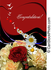 Floral background Greeting card for wedding or...