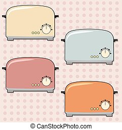 toaster - retro toaster background, illustration in vector...