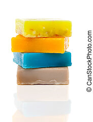 handmade soaps isolated on white - handmade soaps isolated...