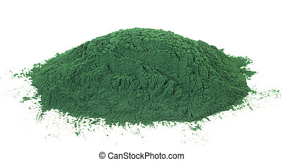 Spirulina powder algae isolated on white background