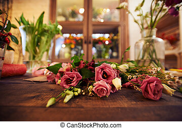 Flower shop - Close-up of dry rose bunch on florist table
