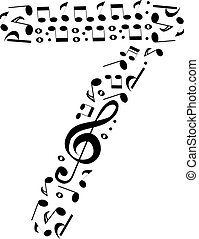 Abstract vector number seven made from music notes - numbers set