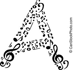 Abstract vector alphabet - A made from music notes -...