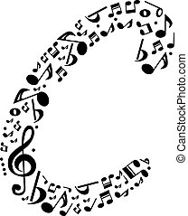 Abstract vector alphabet - C made from music notes -...