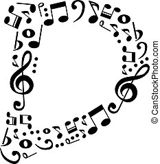 Abstract vector alphabet - D made from music notes -...