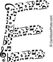 Abstract vector alphabet - E made from music notes -...