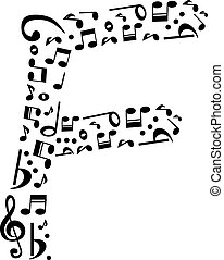 Abstract vector alphabet - F made from music notes -...