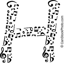 Abstract vector alphabet - H made from music notes -...