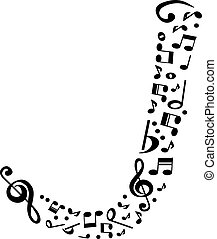 Abstract vector alphabet - J made from music notes -...
