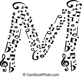 Abstract vector alphabet - M made from music notes -...