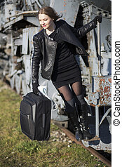 Woman is ready to jump off train - Woman is ready to jump...