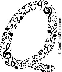 Abstract vector alphabet - Q made from music notes -...