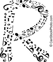 Abstract vector alphabet - R made from music notes -...