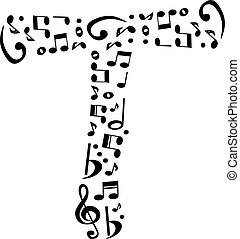 Abstract vector alphabet - T made from music notes -...