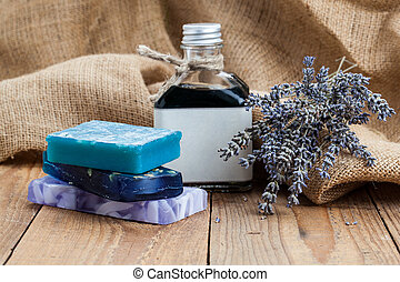 handmade lavender soap,  on wooden background