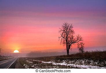 Winter Sun Set On Route 6 - Scenic winter sunset on scenic...