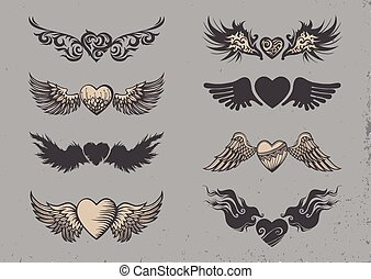 Tattoo hearts - Set of tattoo black hearts with wings