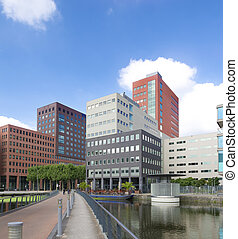 modern office buildings in the hague, netherlands.