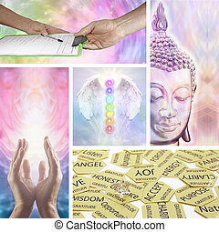 Holistic Healing Therapy Collage - Five images showing...
