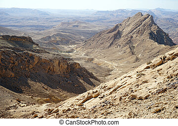 Crater Ramon - Footpath and crater Ramon in Negev desert,...